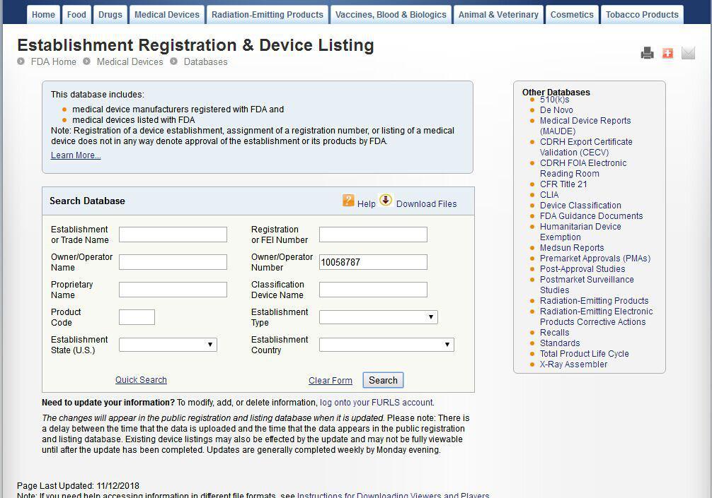 医疗器械企业FDA注册查询